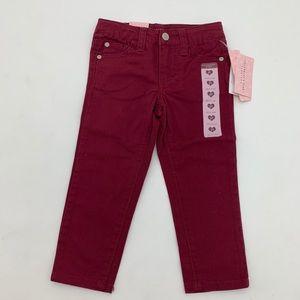 4/$25 NEW Celebrity Pink Girls Burgundy Jeans 2T